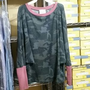 Fantastic Fawn Tops - Long Sleeve Thermal Camo Top w/ contrast Banding
